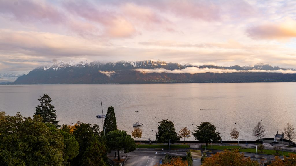 View from Lausanne on Lake Geneva an the Alps